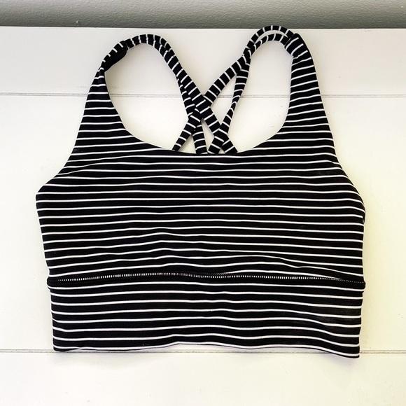 Lululemon size 2 black & white striped energy bra